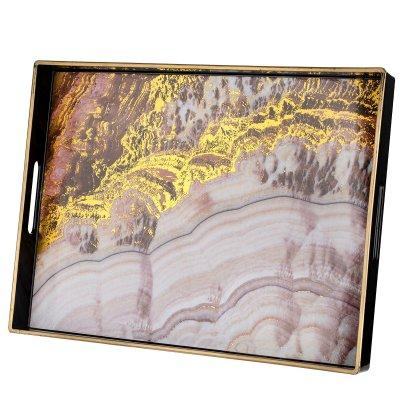 طوفرية تقديم زهري مذهب بيد مستطيل بلاستيك السيف غاليري