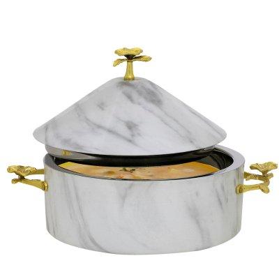 حافظة طعام استيل بغطاء هرمي منقوش بوردة ذهبي 24سم