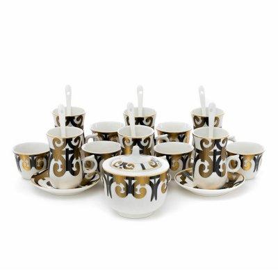 طقم تقديم فناجين قهوة وبيالات شاي أبيض بنقش ذهبي 24 قطعة