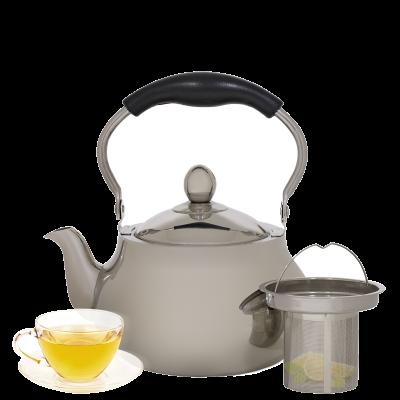 إبريق شاي استيل بمصفى بيد أسود2 لتر السيف غاليري
