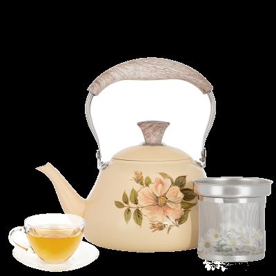 إبريق شاي بيج منقوش وردة بمصفى بيد خشبي 2 لتر السيف غاليري