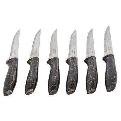 طقم سكاكين مموج بيد بلاستيك أسود بذهبي 6 قطع السيف غاليري