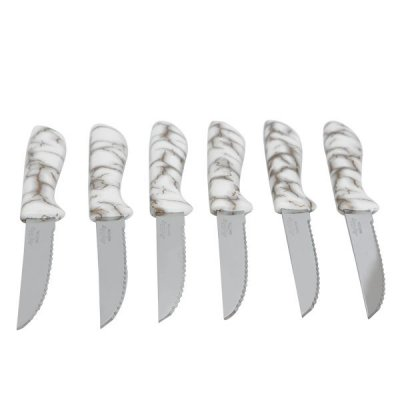 طقم سكاكين مشرشر بيد بلاستيك رخامي أبيض بذهبي 6 قطع السيف غاليري