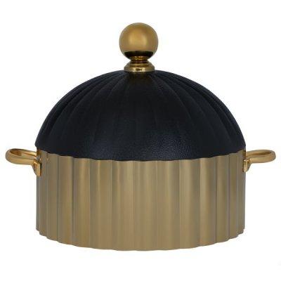 حافظة طعام استيل دائري ذهبي بغطاء أسود 28سم السيف غاليري