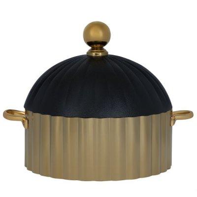 حافظة طعام استيل دائري ذهبي بغطاء أسود 24سم السيف غاليري
