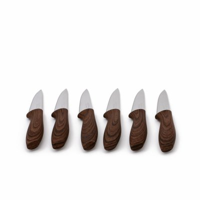 طقم سكاكين مشرشر بني 6 قطع