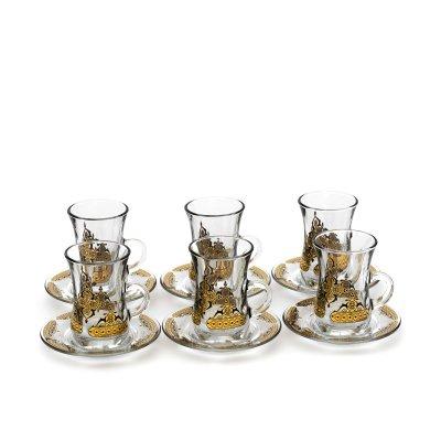 دملاج طقم تقديم شاي + قهوة - زجاج نقش مذهب أسود